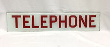 VINTAGE ORIGINAL GLASS TELEPHONE PHONE BOOTH SIGN WHITE WIITH RED LETTERING !