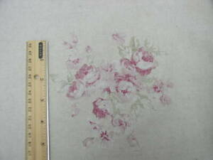 "Yuwa Monochromatic Raspberry Roses  Oatmeal Cotton Linen Fabric Remnant 22""x58"""