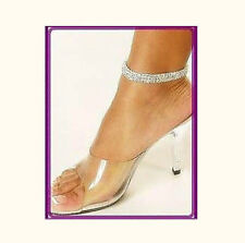 New 2Pcs 3Rows Stretchy Crystal Rhinestone Anklets N81