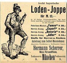 Hermann Scherer München Aecht bayrische LODEN-JOPPE Historische Reklame von 1899