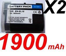 """★★★ 2 X """"1900mA"""" BATTERIE Lithium ion ★ Pour Grip NIKON MB-D11  MB-D12  EN-EL15"""