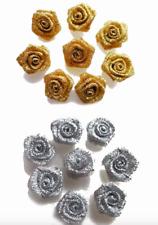 Gold Small Mini Satin Ribbon Rose Buds Flowers Embellishment 10 20 30 PK 1.5cm