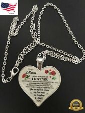 To My Mom I Love You Husband Heart Rose Necklace Birthday Gift