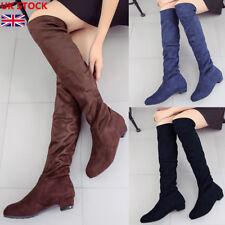 Womens Over Knee High Suede Slim Boots Ladies Low Block Heel Winter Shoes Size