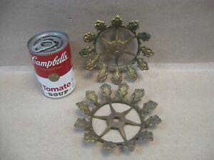 Vtg Set 2 Brass Oil Kerosene Table Hanging Lamp Chandelier Shade Holder Ring