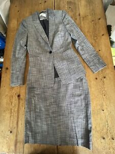"""Super Chic REISS """"Remi"""" Blue Grey Tailored Single Breasted Skirt SUIT, Jacket 8"""