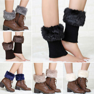 Fashion Ladies Boot Cuff Fluffy Soft Furry Faux Fur Leg Warmer Toppers Boot Sock