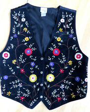 WESTERN RANCH COWGIRL BLACK SUEDE FLORAL EMBROIDERED VEST  L by BEDFORD FAIR
