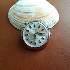 Vintage Elgin 338 Day-Date Watch w/Divers All SS Case,Mint Dial FOR REPAIR
