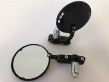 "Black Foldable Universal Motorcycle Round 1"" 25 mm Handle Bar End Side Mirrors"