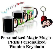 PERSONALIZED COLOR CHANGING MAGIC MUG Wooden Heart Photo Key-chain