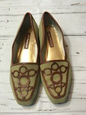 ENZO ANGIOLINI BEIGE TWEED CANVAS BROWN LEATHER TRIM FLAT SHOE WOMAN SZ 7 Green