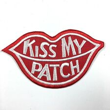 KISS MY PATCH RED LIPS IRON ON EMBROIDERED PATCH FREE SHIPPING