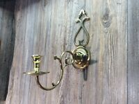 Vintage Solid Brass Candle Wall Sconce Lift Off Arm Made In Japan K3