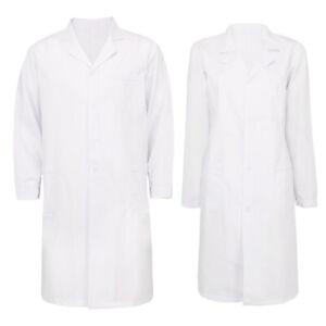 White Long Sleeve Scrubs Lab Coat Medical Nurse Doctor Uniform Coat Men Women