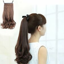 Flower Big Wave Synthetic Wig Curly Ponytail Hair Extensions Ribbon Bundled
