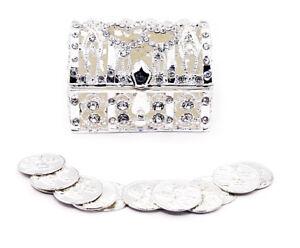 Silver Wedding Arras de boda Treasure Box Set with 13 Unity Coins STB01