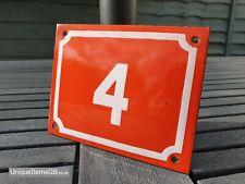 Antique Metal Number 4 Enamel Sign House Door Placque 15cm x 12cm