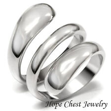 HCJ SILVER STAINLESS STEEL SWIRL DESIGN WIDE BAND FASHION RING SIZE 10