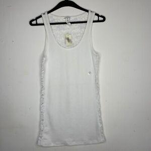 White Aeropostale Tank Top - Floral Lace Singlet Shirt - Brand New - Size S M L
