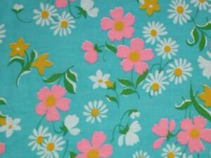 Vtg Turquoise Cotton Fabric BRIGHT Pnk & Yellow Flowers Flower Power 45x3.5yds