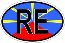 Autocollant sticker ovale oval drapeau code pays RE ile de la reunion