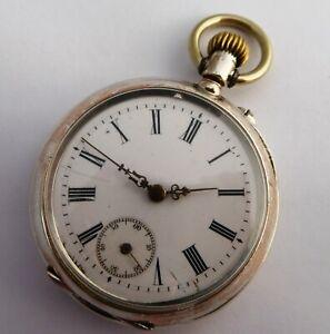 Antique  1800s  German Art Nouveau .800 Silver Pocket Watch