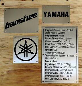 Yamaha Banshee 350 Fenders Warning Tags Custom Replacement (No PO BOX shipping)