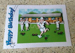 Handmade Birthday card 3D decoupage humorous female bowls player bowler amusing