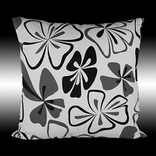 ABSTRACT COTTON WHITE BLACK GRAY FLORAL DECO THROW PILLOW CASE CUSHION COVER 17""