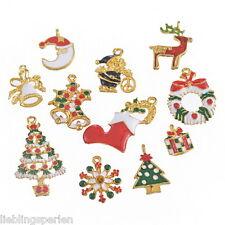 11 Mix Charms Anhänger Christbaum Schneeflocken Kranz Weihnachtsglocke Stiefel