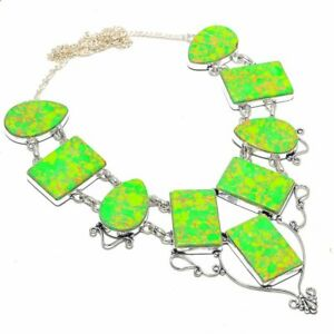 """Copper Green Turquoise Gemstone Handmade Ethnic Jewelry Necklace 18"""" ZN-1382"""