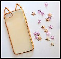 Coque Souple or dore oreilles de chat cat ears iPhone 7 plus + Gold girly