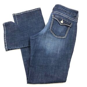 Lee Mid Rise Fit Barely Bootcut Women's size 12 Long Dark Wash Blue Denim Jeans
