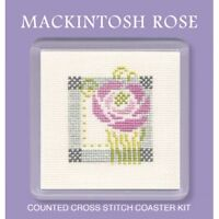Mackintosh Rose Pink Counted Cross Stitch Coaster Kit by Textile Heritage COMR