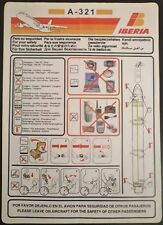 IBERIA spanish airways Airbus A321 SAFETY CARD airline brochure leaflet ee e180