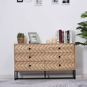 Long Wooden Dresser Quirky Elevated Sideboard Storage Unit Organiser Black Brown