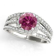 0.74 Carat Pink Purple Diamond Halo Ring Best Price 14k WG Valentineday Spl.Sale