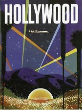 POST CARD OF VINTAGE POSTER FOR HOLLYWOOD SHOWING THE BOWL RETRO LOOK POST CARD