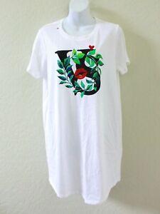 Victoria's Secret Short Sleeve Logo Crewneck Sleepshirt Size M - White
