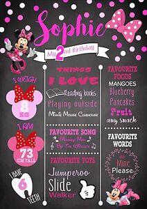 1st 2nd 3rd Birthday Milestone Chalkboard Birthday Print Minnie Mouse Pink A4