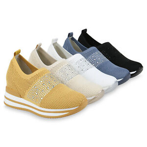 Damen Sneaker Wedges Strass Slip On Freizeitschuhe Keilsneaker 833984 Schuhe