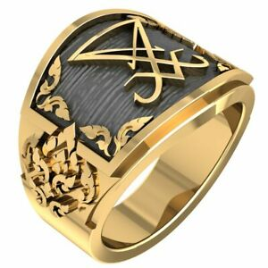 Sigil of Lucifer Ring Devil Seal of Satan Band for Men Brass Jewelry