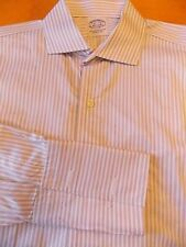 BROOKS BROTHERS SLIM FIT 15.5 33 SHIRT DRY-CLEANED FRENCH CUFF WHITE/PURPLE/BLAC