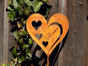 Herz !!XL!! Herzstecker Edelrost Beetstecker Gartenstab Rostdeko Herzen Garten