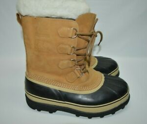 Sorel Snow Waterproof Caribou Boots Buff Leather Wool Insulated Boots Men's 11