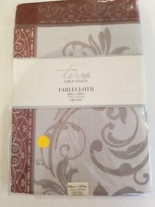 "Leaf Scroll DAMASK Tablecloth Silver and Burgundy 60"" X 102"" Oblong New Elegant"