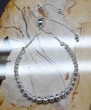 "Adjustable Bolo Disco Bead Bracelet 925 Sterling Silver Ball Slide Max Length 9"""