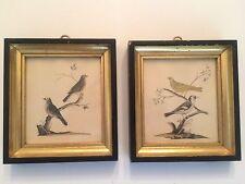 PAIR OF FRAMED ELEGANT BIRD PRINTS, BLACK AND GOLD. LOVELY!