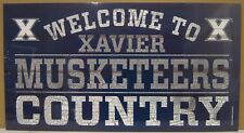 """XAVIER MUSKETEERS WELCOME TO MUSKETEERS COUNTRY WOOD SIGN 13""""X24'' NEW WINCRAFT"""